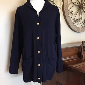 Ralph Lauren Size 1X Blue Cardigan with Collar